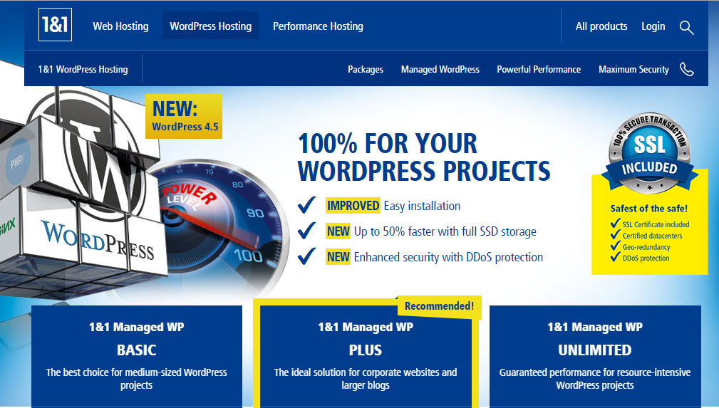 1&1 WordPress Hosting